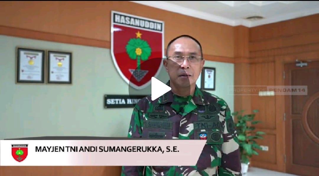 BERITA VIDEO: Pangdam XIV Hasanuddin, Mayjen TNI A. Sumangerukka, Mengajak Masyarak Bersatu Melawan Covid-19