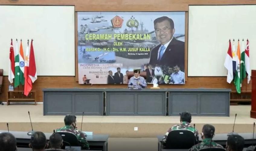 Dihadapan para Pasis Sesko TNI, JK Berbagi Resep Kepemimpinan