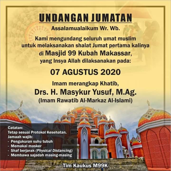 Terkait Undangan Shalat Jumat di Masjid 99 Kubah, Nurdin: Mana Ada Shalat Jumat Pakai Undangan?