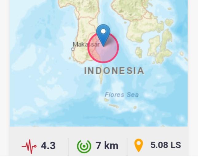 Gempa Magnitudo 4.3 Guncang Timur Laut Bulukumba, BMKG : Hati-hati Gempa Susulan