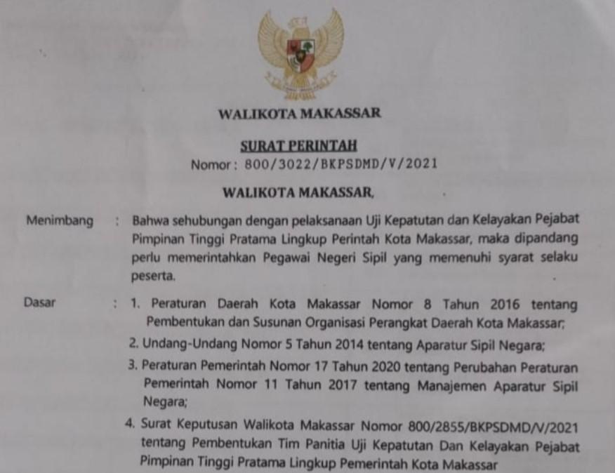 Kantongi Izin Mendagri, Mutasi Pejabat di Pemkot Makassar Mulai Pekan Ini