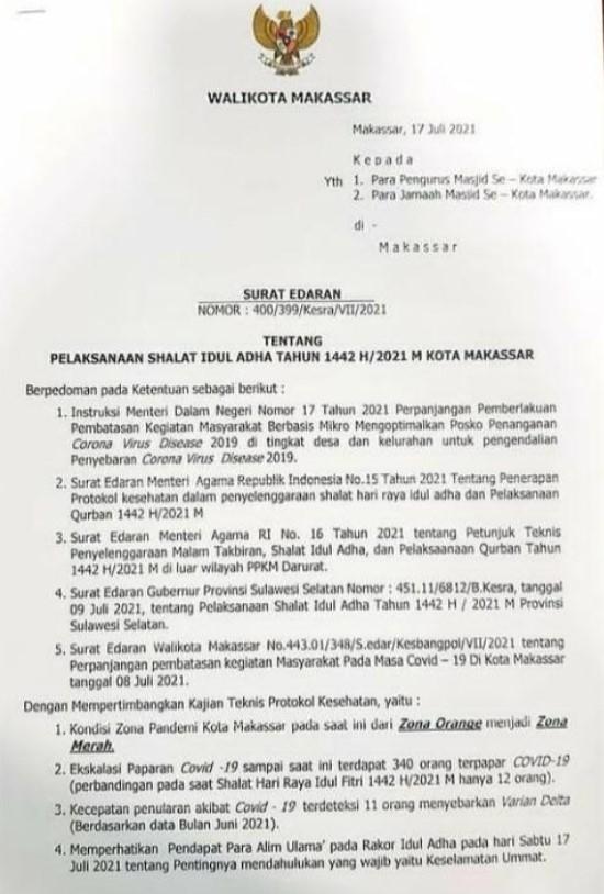 Makassar Masih Zona Orange, Pemkot Anjurkan Warga Salat Idul Adha di Rumah Masing-masing