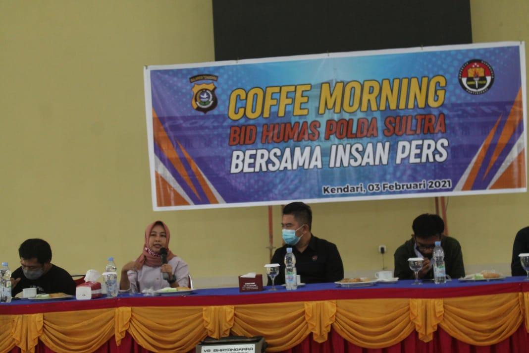 Pererat Sinergitas, Polda Sultra dan Insan Pers Coffe Morning Bersama