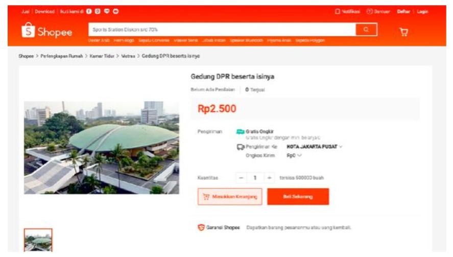 Ramai di Online Shop, Gedung DPR dijual Mulai Rp.2500