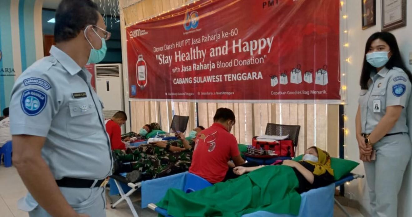 Sambut  Hari Jadi ke 60, Jasa Raharja Sultra Gelar Donor Darah