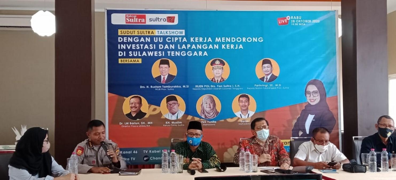 Talkshow Omnibuslaw : UU Cipta Kerja Mendorong Investasi dan Lapangan Kerja Di Sulawesi Tenggara