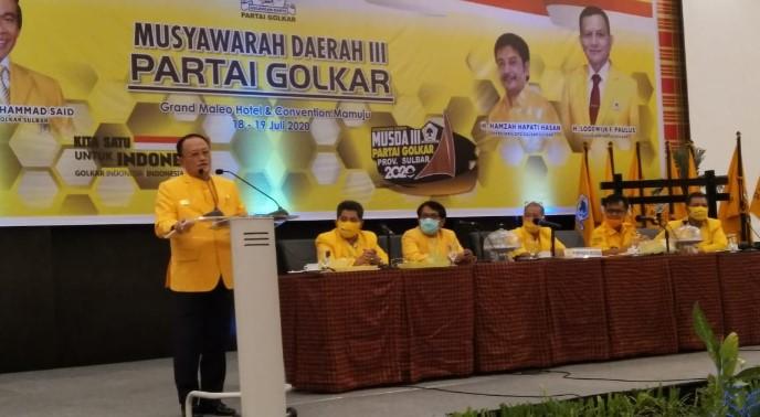 Terpilih Aklamasi Pimpin Golkar Sulbar, Aras Janji Bantu Rp2,5 M Calon Kepala Daerah Usungan Golkar