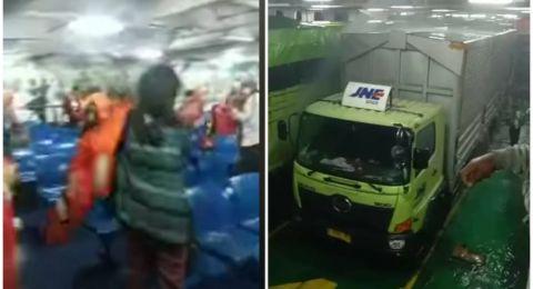 Truk Ekspedisi JNE Terbakar didalam KMP Neomi