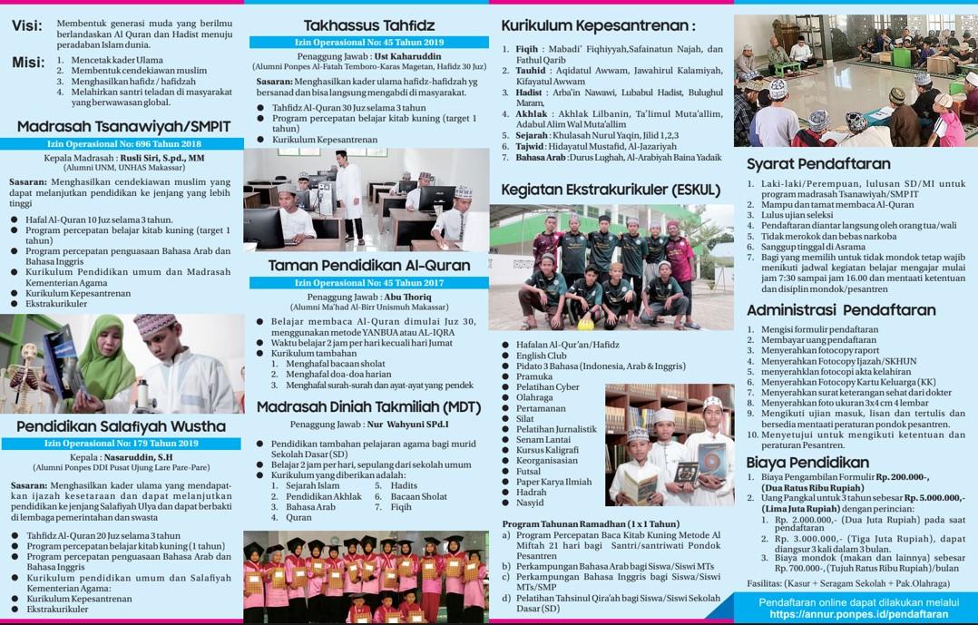 Ponpes  Annur Tompobulu, Menerima Santri-Santriwati Baru, T.A 2020-2021